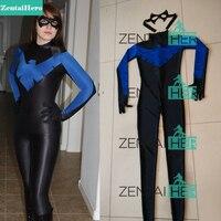 משלוח חינם DHL הגעה חדשה סקסי ליידי כחולה הנשי שחור Nightwing תלבושות הלייקרה ספנדקס ליל כל הקדושים מערער Cosplay תלבושות
