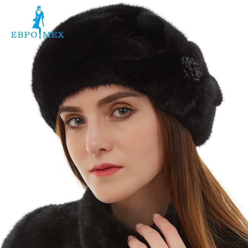ФОТО Hat Female Genuine Leather hat Fashion leather Fur hat Top grade Mink fur hat Top Grade winter Black Weatherization
