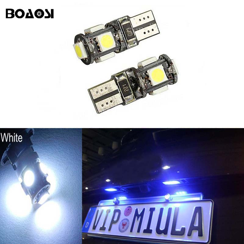 BOAOSI 4x Canbus Led T10 5050SMD 5LED Number Plate Light Bulb For Land Rover Discovery Range Rover Evoque Freelander Defender