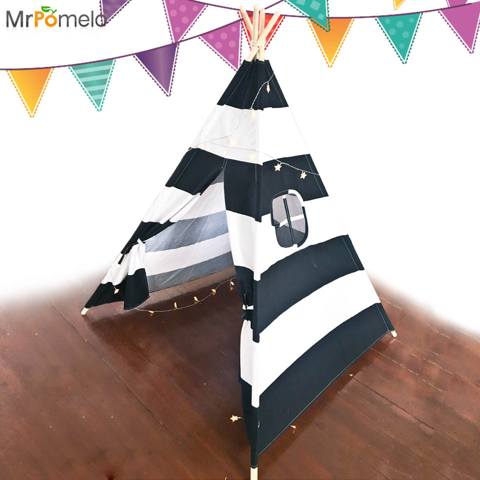 MrPomelo Four Poles Kids Play <font><b>Tent</b></font> 100% Cotton Canvas Teepee Children Toy <font><b>Tent</b></font> Black White Stripe Playhouse for Baby Room Tipi