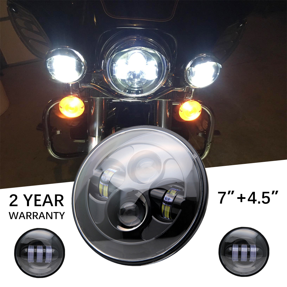 все цены на 7 Inch black Harley Daymaker LED Headlight+2x4-1/2