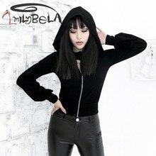Imily Bela Gothic Hat Kpop Sweatshirt Women Aesthetic Hoodies Streetwear Black Korean Cropped Hoodie Crop Top Hoodie Autumn недорого