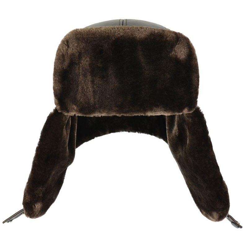 servizio duraturo aspetto dettagliato prezzi economici HL074 cuoio genuino della mucca pelle Bomber uomo cappelli con paraorecchie  Russo inverno Faux fur Paraorecchie caps marrone nero colori