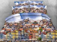 цены 3D City Bedding sets quilt duvet cover bed in a bag sheet linen bedspreads bedsheer bedset California King size Queen twin 4PCS