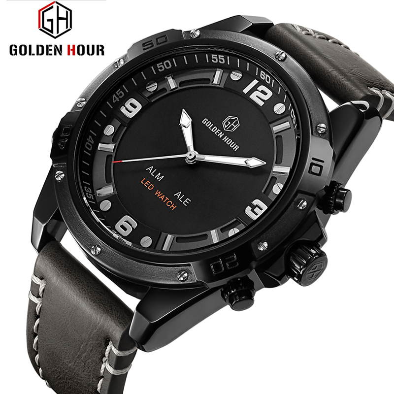 Leather LED Digital Quartz Military Sport Watch Waterproof