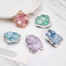 1PC Geode Quartz Druza Druzy NaturalNatural Stone Agat Pendant Pendulum Crystal Irregular Drusy Quartz Necklace Jewelry n091808 18 29 7 strands pearl necklace quartz druzy pendant