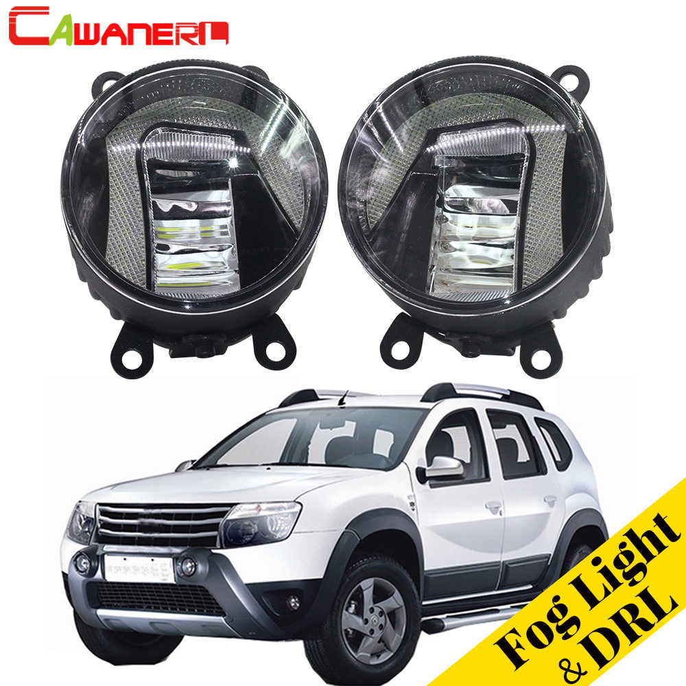 Cawanerl For Renault Duster Closed Off-Road Vehicle 2012-2015 Car Styling LED Fog Light Daytime Running Lamp DRL White 12V