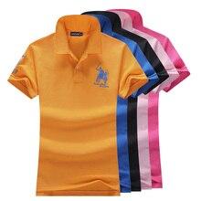 High quality 2019 Summer New womens short sleeve polos shirts casual lapel cotton fashion slim tops