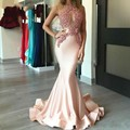 Sexy Sheer Beaded Lace Long Mermaid Long Evening Dresses 2017 Custom Made Peach Ruched Dubai Formal Dress Robe De Soiree