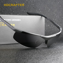 HDCRAFTER Genuine Aluminum Sport Rimless Sunglasses Men Polarized UV400 Driving Fishing Goggle Sun Glasses Lunettes 8814
