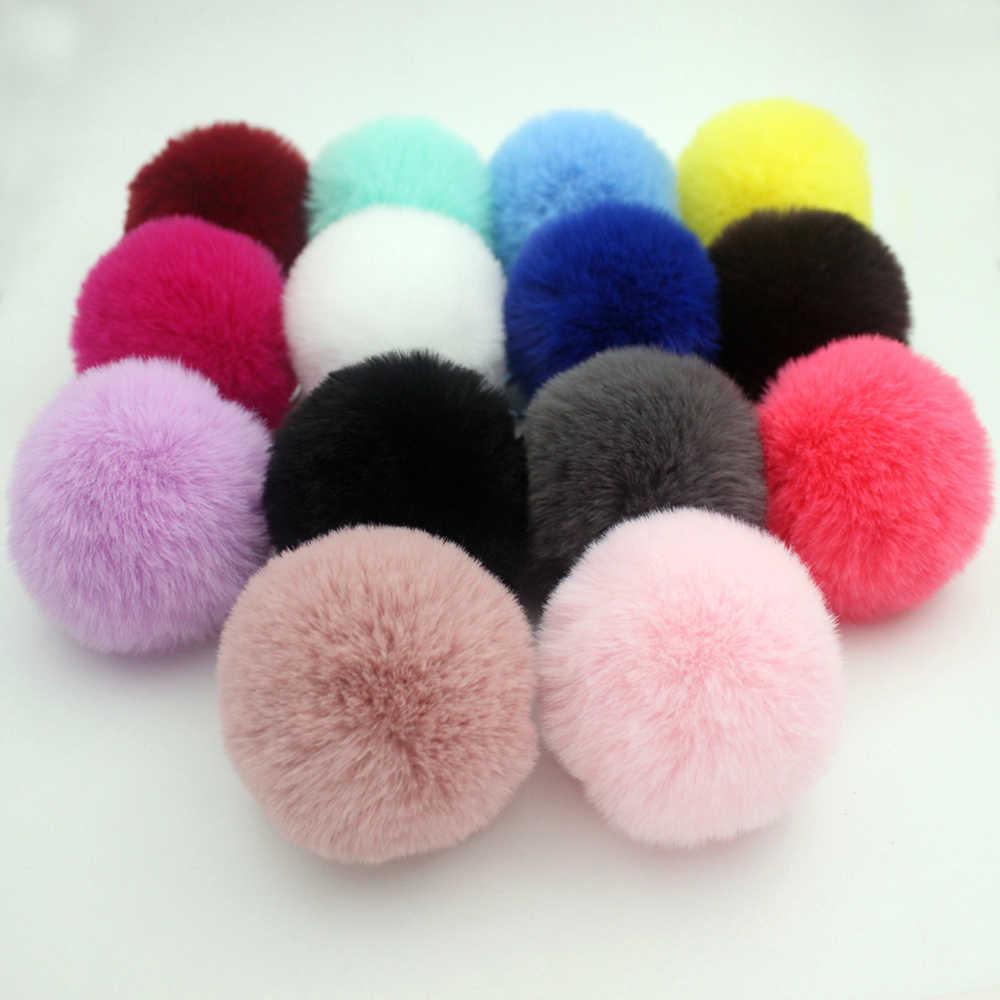 Llaveros de pompón de piel esponjosa de 30 colores, llaveros de coche de bola de pelo de conejo de imitación Rex suave, llaveros de Pompón, colgante para bolso de mujer, joyería Diy