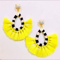 2017 Hot Sale Bright Colour Fan Tassel Earrings