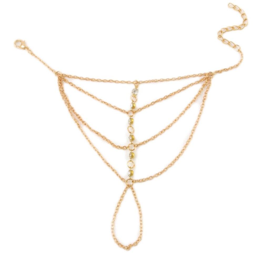High Quality Punk Rock Multilayer Lady Tassel Bracelet Gold Color Fine Jewelry Finger Bracelet Harness Hand Chain
