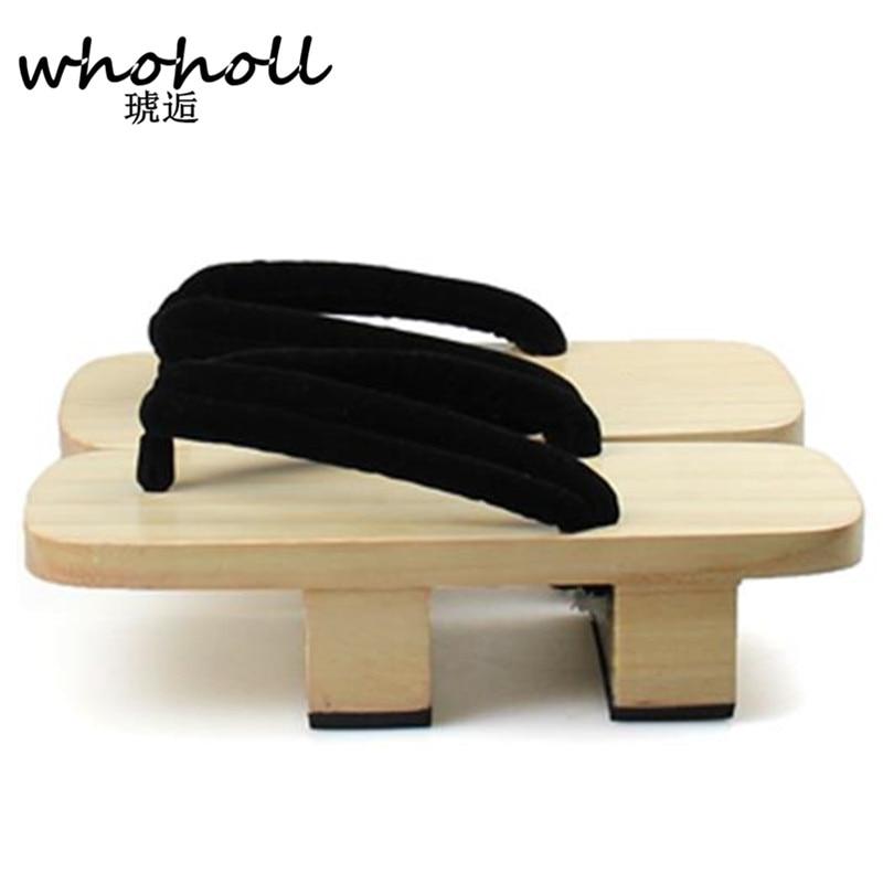 WHOHOLL sievietes Flip-Flops vasaras sandales platforma Japāņu koka geta bidentate paulownia koka tupelēm Cosplay kostīmu kurpes WMGT-255