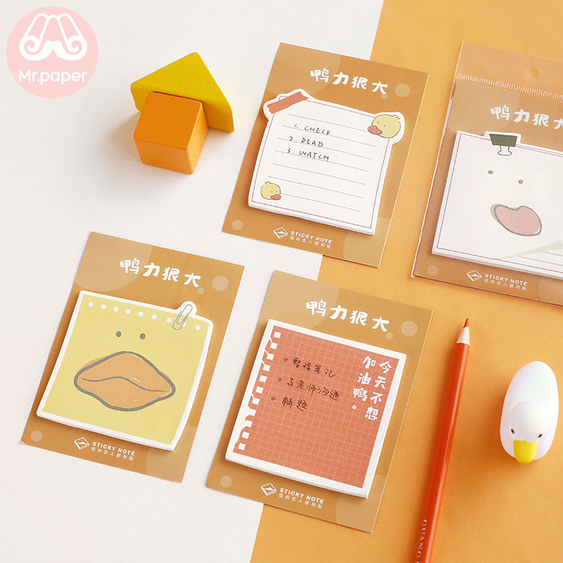 Mr Paper 30pcs/lot 16 Designs Creative Cute Animals Duck Doggy Pola Bear Memo Pad Sticky Notepad Diary Self-Stick Notes Memo Pad