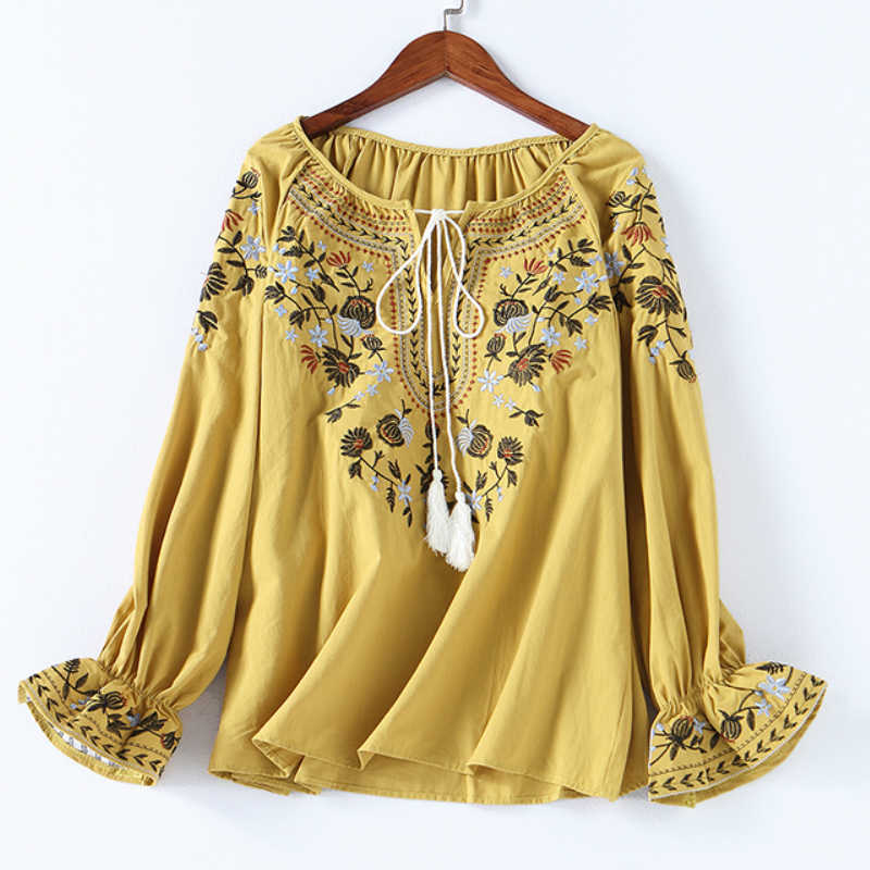 Spring Women Fashion Cotton Shirt Casual Autumn Floral Embroidery Lace-up O-neck Blouse Shirt Ladies Casual Boho Tops