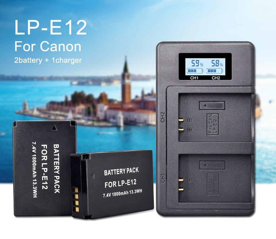 Аккумулятор для камеры lpe12 lp e12 1800 мАч 3 шт akku + ЖК