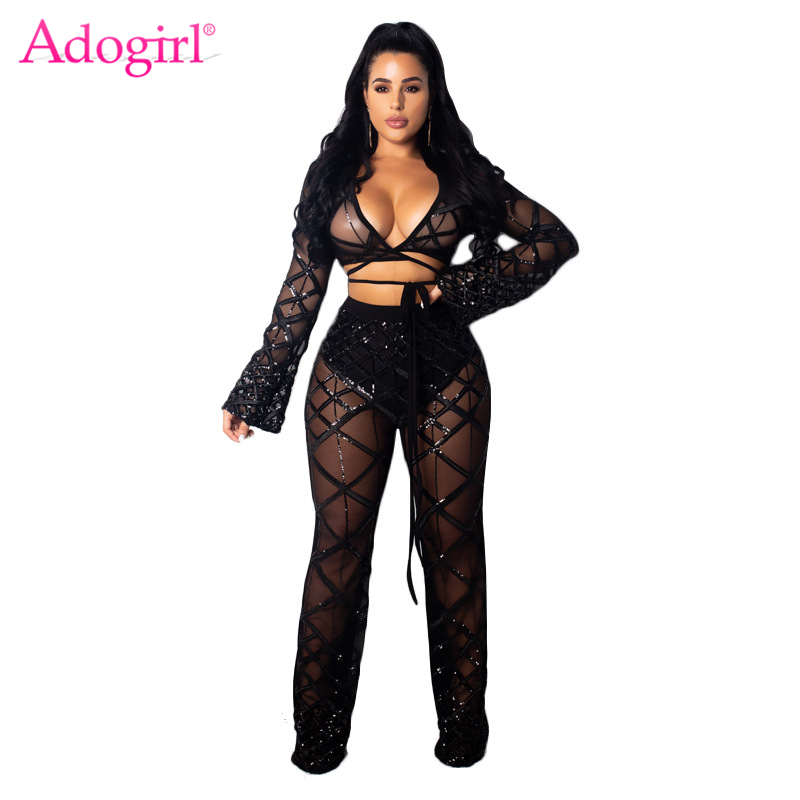 Adogirl Crisscross Plaid Sequins Women Sexy Two Piece Set Deep V Neck Long Sleeve Lace Up Crop Top + Flare Pants Club Outfits