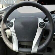 DNHFC Auto accessori cucito A mano Volante In Pelle Auto Copertura Della Ruota di Copertura per Toyota Prius 2009-2015 Aqua 2014 2015