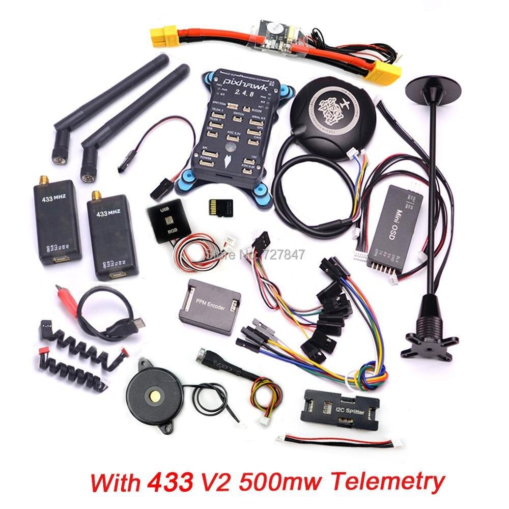 Pixhawk PX4 PIX 2.4.8 32 Peu Vol Contrôleur + 433/915 Télémétrie + M8N GPS + Minim OSD + PM + Interrupteur de sécurité + Buzzer + RGB + PPM + I2C + 16G SD - 2