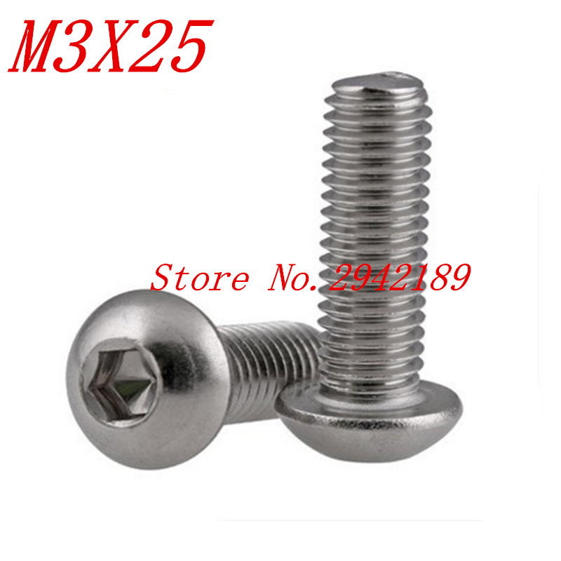 500pcs iso7380 <font><b>M3</b></font>*25 <font><b>M3</b></font> x 25 A2-70 stainless steel button head screw image