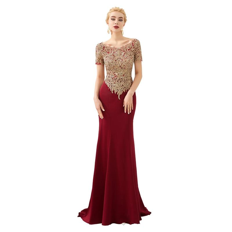 High Quality Scoop Neck Short Sleeve Mermaid Wine Robe de soiree Evening Dress Long Abendkleider Long dress Serene hill 49331