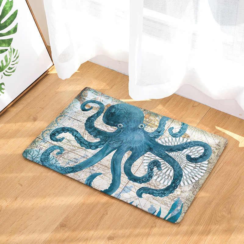 Sea Animals Whale Hippocampus Turtles Octopus Home Decoration Kitchen Area  Rug Blue Theme Decor