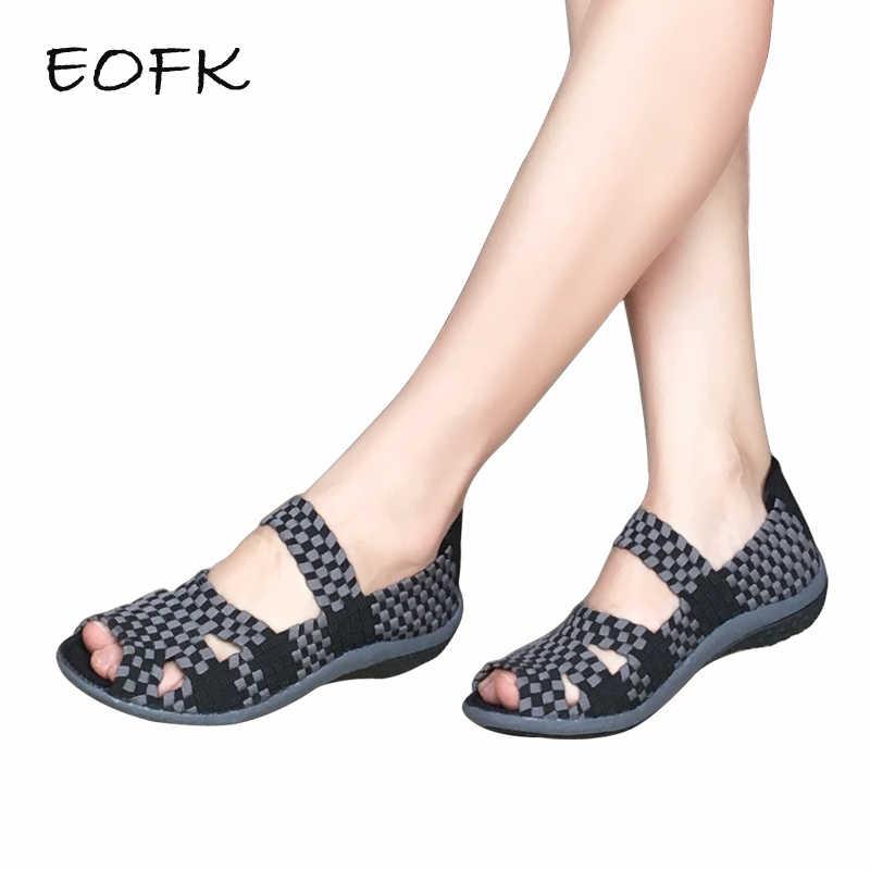 EOFK Giày Sandal Nữ Handmade Dệt Giày Đế Bằng Nữ Thời Trang Mùa Hè Thường Thoáng Khí Trơn Nhiều Màu Sắc Nữ Giày