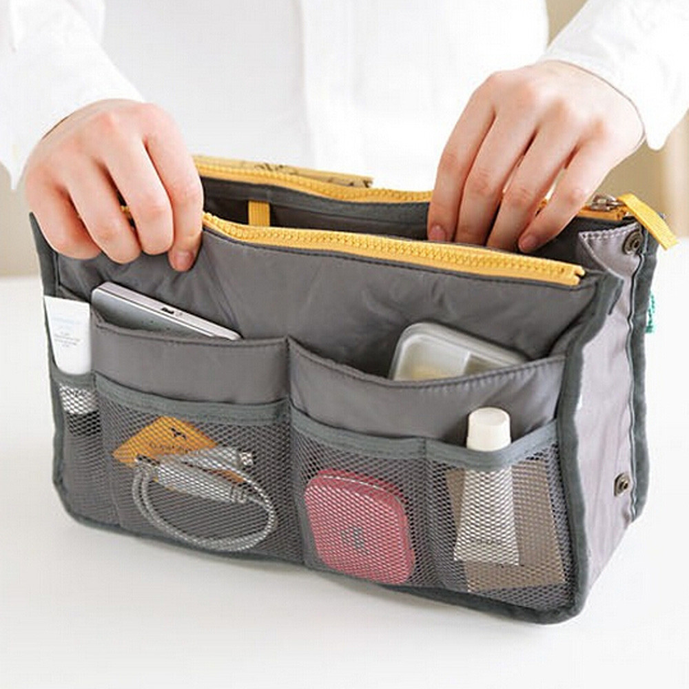 Holder Storage-Bag Cosmetic-Organizer Travel Portable Nylon for Multifunction Dual-Zipper