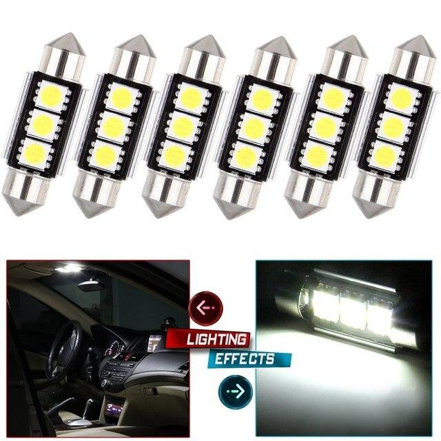 50 יח\חבילה 36mm 39mm c5w 3 smd 5050 Led canbus שגיאת משלוח רכב פנים לויה כיפה אוטומטי מעל ראש קריאת ראש מנורה לבן 12V