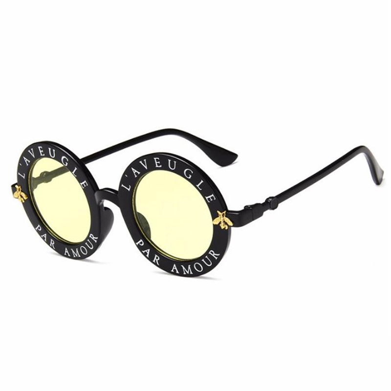 New Retro Round Lady Sunglasses Bees Men Luxury Brand Glasses Color Goggle Sunglasses Women Brand Designer