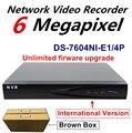 Международная Версия Видеонаблюдения NVR DS-7604NI-E1/4 P 4 Канал 8 Независимых PoE для 6MP Записи Камеры ВИДЕОНАБЛЮДЕНИЯ Коричневый коробка