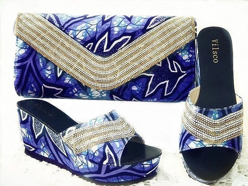 ФОТО New Fashion Decorated with Diamonds African Shoes and Bag Set for Party In Women Italian Matching Shoe and Bag Sets for GL1-01.