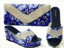 New Fashion Decorated with Diamonds African Shoes and Bag Set for Party In font b Women