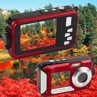 Hot Waterproof Camera Digital 24MP Dual LCD Screen Digital Camera Ago 2.7 Rear 1.8 self timer CMOS Camcorder mini Camera DVR
