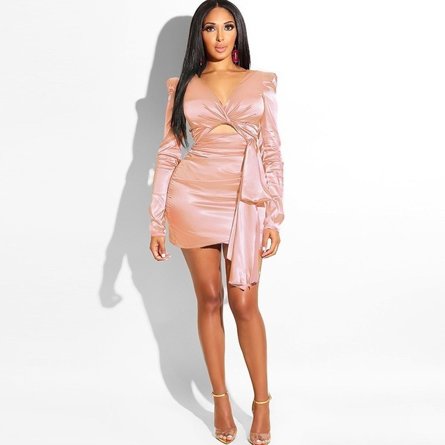 Fuedage Vestido Autumn Winter Bodycon Dress Women Bow Mini elegant mini Sexy Dress Nightclub Evening Party Dresses KylieJenner  2