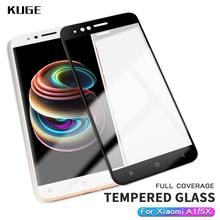 KUGE xiaomi mi a1 glass tempered protective full cover prime screen protector xiaomi mia1 glass film xiaomi mi a1 4GB 64GB 5.5(China)