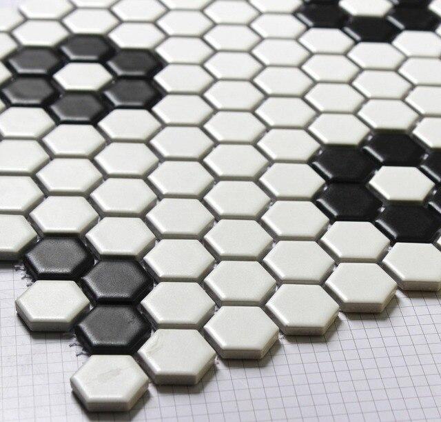 Zwart Wit Tegels.Hexagon Mozaieken Tegel Zwart Wit Parket Mozaiek Puzzled Tegels