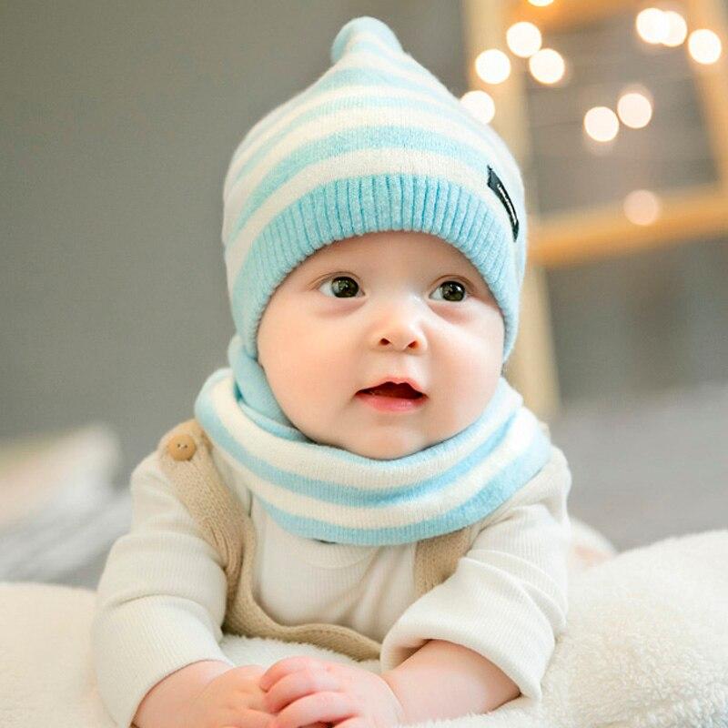 Infant Baby Hat Scarf Set Cute Kids Girls Boys Cap Winter Autumn Hat infant hat Cotton 2 Pcs Knit
