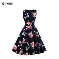 Qybian Summer Bird Flowers Printed Dress Women Sexy Swing Ladies Party Dresses 2017 Elegant Sleeveless 50s