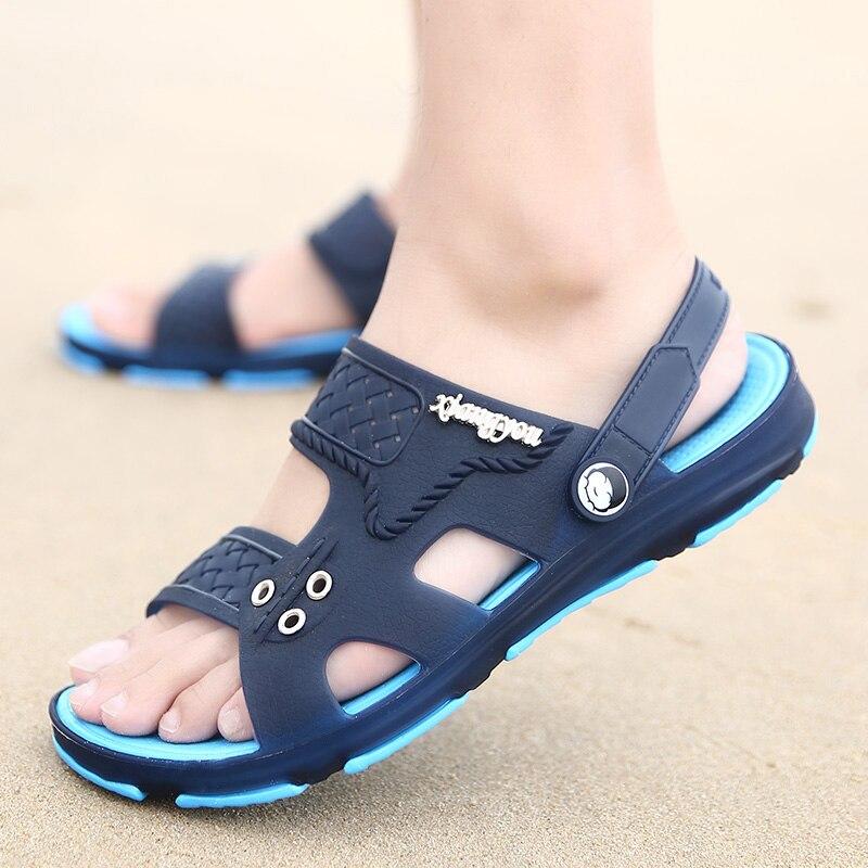 2018 Summer Mens Platform Shoes Slip-On Garden Breathable Mens Sandals Plus Size Beach Aqua Shoes Croc Shoes Flip Flops