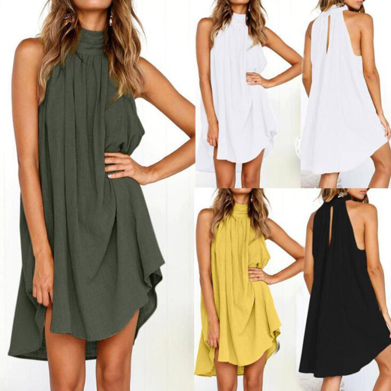 Europe <font><b>Style</b></font> Women <font><b>Halter</b></font> <font><b>Dress</b></font> <font><b>Sexy</b></font> Sleeveless Off Shoulder Summer Ladies <font><b>Dresses</b></font> 2019 Plus Size <font><b>Dresses</b></font> For Women 4XL 5XL image