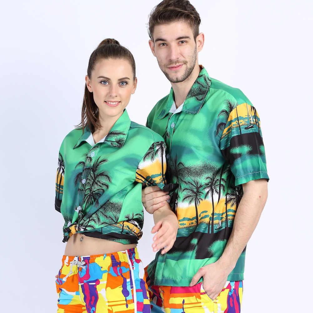 Для мужчин s Гавайский стиль рубашки короткий рукав Тропический Принт спортивная рубашка Slim Fit цветочный блузка для мужчин/женщин пара брендовая пляжная одежда