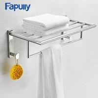 Bathroom Shelves Single Tier Chrome Silver Wall Rack Towel Hooks Washing Shower Cosmetic Basket Bath Accessories Shelf G212