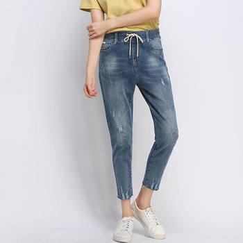 5XL Boyfriend Jeans For Women Denim Harem Pants High Waist Mom Jeans Plus Size Casual Streetwear Lace Up Mom Jeans Mujer Q1440 фото