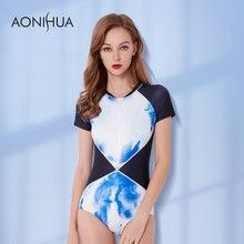 AONIHUA One Piece Swimwear New Patchwork Push Up Brazilian Short Sleeve Bathing Suit Slim Surfing 2018 Women Sexy Swimsuit XXL