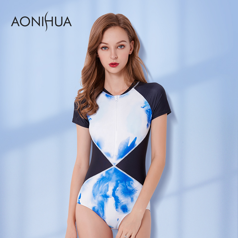 AONIHUA One Piece Swimwear New Patchwork Push Up Brazilian Short Sleeve Bathing Suit Slim Surfing <font><b>2018</b></font> <font><b>Women</b></font> <font><b>Sexy</b></font> <font><b>Swimsuit</b></font> XXL image