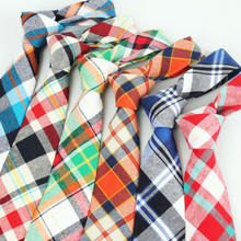 Men British Colorful Tartan Plaid Grids Checks 7cm Cotton Neckties Tie TSBWT0021