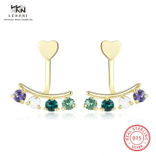 LEKANI Crystals From Swarovski Stud Earrings 925 Ssterling Silver Colorful Diamond Luxury Earring For Women Girl