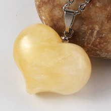 FYJS Unique Silver Plated Romantic Cute Heart Pendant Natural Yellow Citrines Crystal Necklace for Anniversary Jewelry